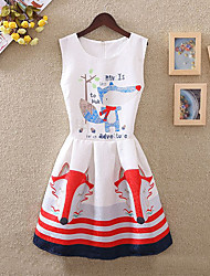 Girl's Cotton Fashion And Lovely  The Little Foxes  A-line Collect Waist Vest Printing Princess Dress