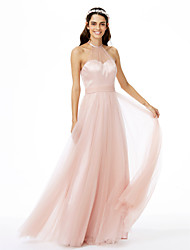 cheap -A-Line Jewel Neck Floor Length Tulle Bridesmaid Dress with Sash / Ribbon Pleats by LAN TING BRIDE®
