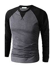 cheap -Men's Daily Sports Going out Casual Punk & Gothic Spring Fall T-shirt,Solid Color Block Round Neck Long Sleeves Cotton Modal Thin Medium