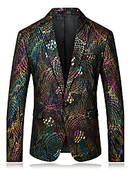 cheap -Men's Daily Casual Formal Street chic Spring Fall Blazer,Print Rainbow Notch Lapel Long Sleeve Regular Polyester