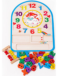 cheap -Wooden Clock Toy Toys Clock Education Wood Children's Pieces