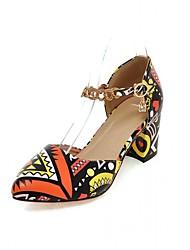baratos -Mulheres Sapatos Courino / Couro Ecológico Verão / Outono Conforto / Inovador Saltos Caminhada Salto Robusto Ponta Redonda Pedrarias