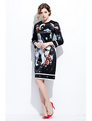 cheap -STEPHANIE Women's Daily Going out Cute A Line Dress,Print Round Neck Above Knee Long Sleeves Silk Cotton Spring Summer Mid Rise Inelastic Medium