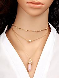 billige -Dame Geometrisk Halskæder med flere lag - Hjerte Mode, Euro-Amerikansk Lys pink, Lyseblå, Lys Grøn Halskæder Til Daglig