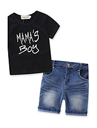 Boy's Fashion Solid Color Baby Kids Clothes SetsCotton Denim Summer Short Pant Clothing Set