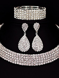 Five Row Jewelry Set Rhinestone Basic Classic DIY Alloy Square 1 Necklace 1 Pair of Earrings 1 Bracelet ForWedding Party Special Occasion