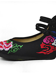 cheap -Women's Flats Embroidered Shoes Fabric Spring Casual Flat Heel Black Flat