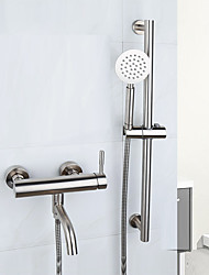 Contemporary Tub And Shower Widespread Handshower Included with  Ceramic Valve Two Handles One Hole for  Brushed , Bathtub Faucet