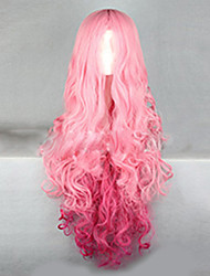 cheap -Synthetic Wig Wavy Synthetic Hair Ombre Hair Pink Wig Women's Very Long Capless
