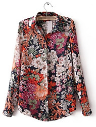 cheap -Women's Daily Going out Work Vintage Casual Punk & Gothic All Seasons Shirt,Floral Square Neck Long Sleeves Polyester