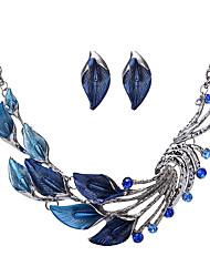 Недорогие -Жен. Набор украшений Стразы Мода Euramerican Для вечеринок Сплав В форме листа 1 ожерелье 1 пара сережек