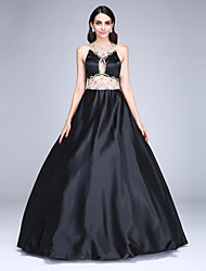 Ball Gown Jewel Neck Floor Length Stretch Satin Formal Evening Dress with Beading Crystal Detailing by TS Couture®