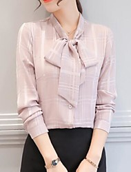 cheap -Women's Vintage Spring Summer Blouse,Solid V Neck Long Sleeves Polyester Thin