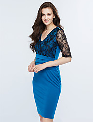 cheap -Women's Work Bodycon Dress - Patchwork Lace V Neck