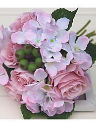 abordables -1 Une succursale Polyester Hortensias Roses Guirlande et Fleur Murale Fleurs artificielles