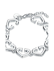 Women's Girls' Chain Bracelet Crystal Friendship Fashion Punk Rock Costume Jewelry Silver Plated Heart Jewelry For Wedding Party Special