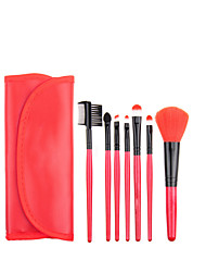 7pcs Red Makeup Brush Set Blush Brush Eyeshadow Brush Eyeliner Brush Eyelash Brush dyeing Brush Powder Brush Sponge Applicator Synthetic Hair