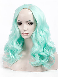 cheap -Fashion Stylish Light Green Color Short Wave Woman's Synthetic Hair Wig Suit for Party and Daily Life