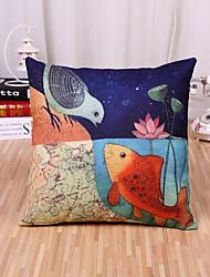 1 Pcs Creative Colorful Fish And Birds Pillow Cover Classic Cotton/Linen Pillowcase