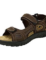 Men's Sandals Comfort Light Soles Genunine Leather Summer Shoes Athletic Outdoor Comfort Light Soles Hook & Loop Flat Heel Brown Coffee