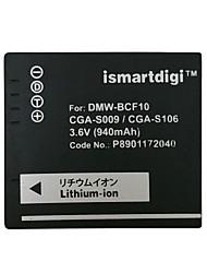 Ismartdigi BCF10 3.6V 940mAh Camera Battery for Panasonic DMC-FS4 FS6 FS7 GK