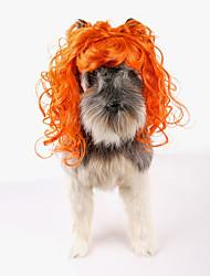 abordables -Gato Perro Disfraces Navidad Pelucas Ropa para Perro Fiesta Cosplay Halloween Año Nuevo Sólido Naranja Disfraz Para mascotas