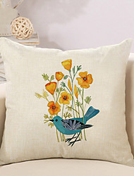 cheap -1 Pcs High Quality Flowers Birds Linen Pillow Cover Sofa Cushion Cover 45*45Cm Pillowcase