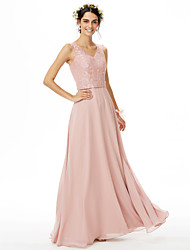 Sheath / Column V-neck Floor Length Chiffon Lace Bridesmaid Dress with Beading Lace Sash / Ribbon by LAN TING BRIDE®