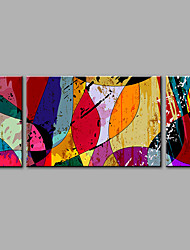 Hand-Painted Abstract Horizontal PanoramicFashion Three Panels Oil Painting For Home Decoration