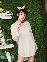 Vestido noturno feminino, pé, colar, conforto, sólido, bolso, letra, pijama