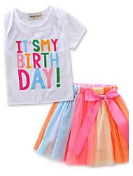 Girls' Fashion Stripe Embroidered SetsCotton Chiffon Summer Short Sleeve Short Skirt T-shirt Clothing Baby Kids Set