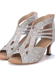 cheap -Women's Latin Shoes Sparkling Glitter Sandal / Heel Rhinestone / Sparkling Glitter Flared Heel Customizable Dance Shoes Silver / Golden / Performance / Leather / Professional