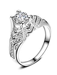 Кольцо Обручальное кольцо Цирконий Мода Классика Elegant Циркон Серебрянное покрытие Круглый Бижутерия Для Свадьба Для вечеринок 1 набор