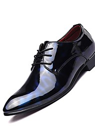 Men's Shoes Real Leather All Seasons Comfort Oxfords For Casual Black Black/Red Blue/Black