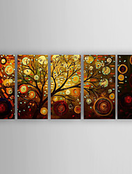 Hand-Painted 5 pcs of Set  Abstract Money Trees Canvas Oil Painting For Home Decoration Ready to Hang