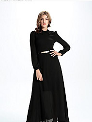 cheap -Women's Going out Loose Dress,Solid Round Neck Maxi Long Sleeves Silk Summer High Rise Micro-elastic Medium