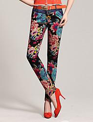 Women's High Rise Micro-elastic Skinny Pants,Simple Skinny Denim Print