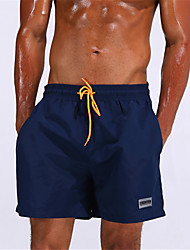 Men's Solid Solid Straped Bottoms Swimwear,Polyester Blue White Black Navy Blue Yellow