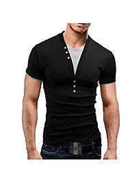 baratos -Homens Camiseta Sólido Algodão Decote V