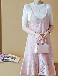 Chemisier Robes Costumes Femme,Couleur Pleine Décontracté / Quotidien simple Eté Sans Manches Col en V