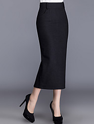 Women's High Rise Going out Midi Skirts Pencil Color Block Fall Winter