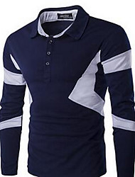 Masculino Camiseta Simples Outono,Estampa Colorida Algodão Colarinho de Camisa Manga Longa Média