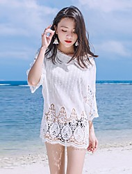 Women's Casual Sports Lawn Date Casual/Daily Street Vintage Simple Cute All Seasons Summer T-shirt,Solid Crew Neck 3/4 Length Sleeve