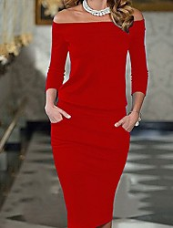 cheap -Women's Party Daily Going out Cute Casual Sexy Bodycon Sheath Dress,Solid Boat Neck Knee-length Long Sleeves Rayon Summer All Seasons Mid