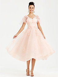 cheap -Princess V-neck Tea Length Lace Tulle Formal Evening Dress with Flower(s) Pearl Detailing by TS Couture®