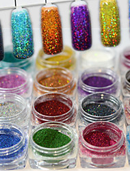 cheap -17bottles/set 0.2g/bottle Fashion Gorgeous Style Colorful Shining DIY Charm Pigment Decoration Nail Art Laser Glitter Holographic Fine Powder JX01-17