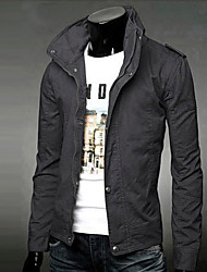 Men's Sport Casual/Daily Modern/Comtemporary Classic Spring/Fall Jacket,Solid Stand Long Sleeve Long Cotton
