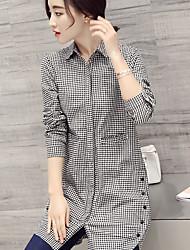 cheap -Women's Daily Casual Casual Summer Shirt,Plaid/Check Shirt Collar Long Sleeves Brocade Thin