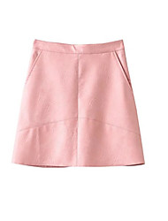 cheap -Women's Daily Going out Club Mini Skirts A Line PU Solid Spring, Fall, Winter, Summer