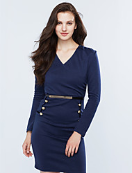 Women's Going out / Work Sexy / Simple Bodycon DressSolid Beaded Slim V Neck Knee-length Long Sleeve Spring / Fall Mid Rise